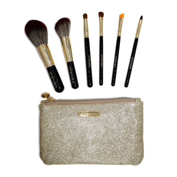 KIT DE BROCHAS DE MAQUILLAJE GOLDEN RUSH X 6 PCS